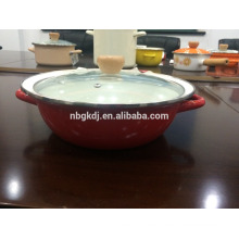 Shallow enamel hot pot/enamel pot/enameled pot with glass lid