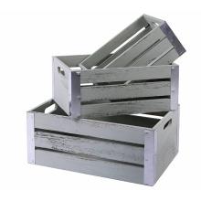 Caixas de madeira de armazenamento decorativas com guarnições de metal