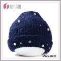 2016 Warm Fashion Pearl Diamante Lovely Wool Yarn Cap (SNZZM022)