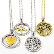 Collier à bijoux en forme de pendentif en acier inoxydable rond