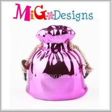 Low Price Ceramic Pink Plating Bag Wedding Money Box Top Sale