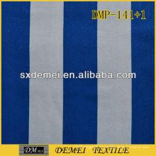 100% algodón azul impreso y tela de lienzo blanco con rayas por mayor