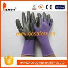 Фиолетовый нейлона при черный Нитрил перчатки Dnn810