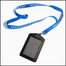 Personal de cuero PU Nombre / ID Card Badge Reel Holder Custom Lanyard con clips (NLC009)
