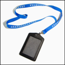 Staff Leather PU Name/ID Card Badge Reel Holder Custom Lanyard with Clips (NLC009)