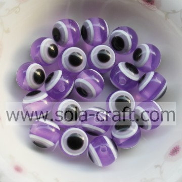 10MM 500Pcs Fashion Purple Round Evil Eye Resin Solid Beads Top Quality Charms Wholesale Loose Beads Jewelry Making DIY