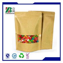 Kraftpapier Zipper Steh auf Zucker Verpackungstasche mit klarem Fenster