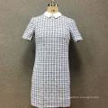 Women's polyester yarn dyed short sleeves dress