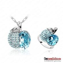 New Fashion Apple Jewellery Set, Lake Blue Diamond Jewellery Set, Platinum Ring and Necklace Jewellery Set (ST-HQS0072)