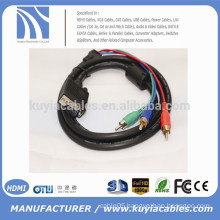 Wholesale 1.5M VGA TO 3RCA AV AUDIO MALE TO MALE CABLE FOR PC TV