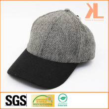 Polyester et laine de qualité Tweed Warm Plain Grey & Black Baseball Cap