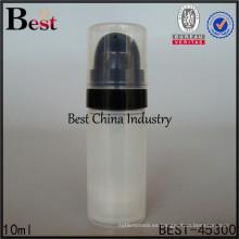 Botella de loción sin aire redonda de 10 ml con bomba sin aire negra