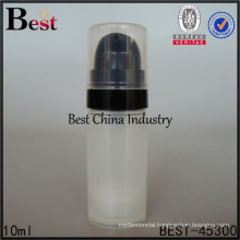 10ml round airless lotion bottle with black airless pump