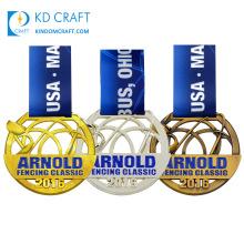Wholesale cheap award honor medallion metal 3D logo enamel sports finisher race marathon running medals custom medal with ribbon
