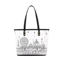 Unique Doodle Print Tote Bag Ladies Summer PU Handbag WZX1047