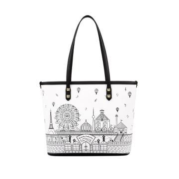 Unique Doodle Print Tote Bag Ladies Summer PU Handbag WZX1047