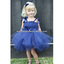 HF30000 Very cute ribbon wide bow straps gathered satin sash zipper back ball gown tiered knee length navy blue girl dresses