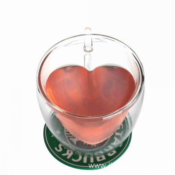 High Quality Glass Heart Cup Set
