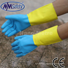 NMSAFETY dual-coating gove,blue neoprene/latex work glove with flock liner diamond grip
