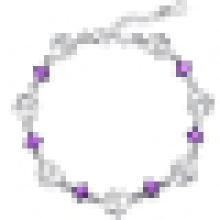 Bracelet améthyste double cœur en argent sterling pour femme