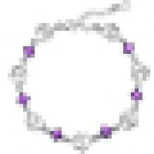 Bracelete de coração duplo de prata esterlina 925 ametista das mulheres