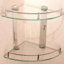 Estante de cristal templado usado en el cuarto de baño