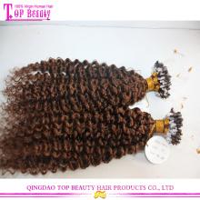Qingdao heißer Verkauf versauten lockiges Mikro Schleife Erweiterung 8a Klasse Echthaar Mikro Schleife Haare Haarverlängerung
