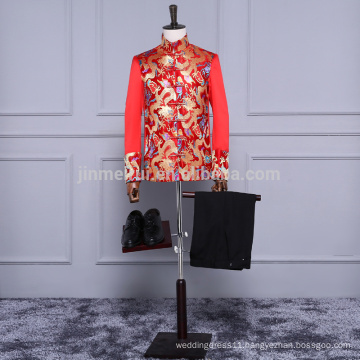 New Arrival High quality Hot Red Silk Satin Men Suits in storck Wholesale Men pants