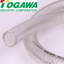 Mangueira reforçada com fio de aço espiral em PVC. Fabricado pela Togawa Industry Corporation. Feito no Japão (mangueira flexível espiral pvc)