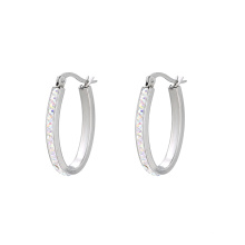 E-583 Xuping Jewelry fashion  Rhodium color Stainless Steel Elegant popular Hoop earrings