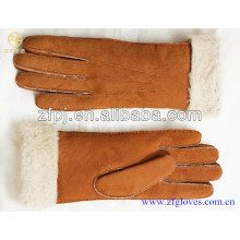 Fasion women winter warm lamb fur double face leather gloves