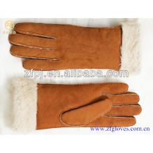 Fasion mulheres inverno morno pele de cordeiro dupla face luvas de couro