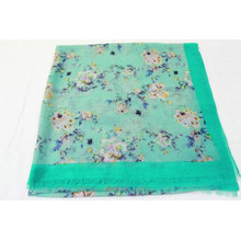 polyester silk satin scarves 2020 voile scarf border design flower print style hijab