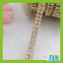 Chaîne de coupe à 2 rangées en or avec strass et strass