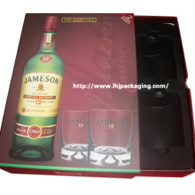 High End Wine and Two Glasses Set Packaging Gift Drawer Box with Flocking