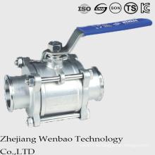 3PC Qucik instaló la válvula de bola sanitaria manual del acero inoxidable con la manija