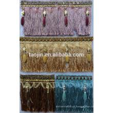 Cortina de cortina Fringe Trimming, pinça decorativa Fringe for Curtain Accessory