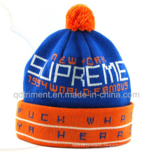 Popular Jacquard Striped Acrylic Cuff POM Knitted Beanie (TMK0189)