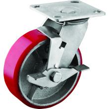 6 inci roda peruncit perindustrian PU dengan brek