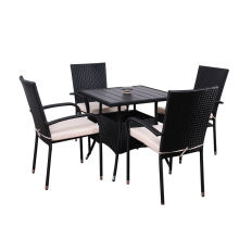 5pc steel rattan dining set
