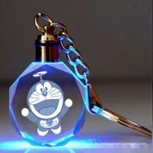 Llavero de vidrio cristalino del regalo del vidrio del laser del LED para los regalos del recuerdo