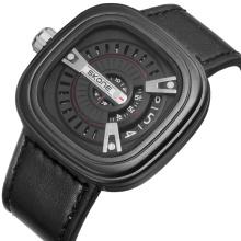 Cool fashion skeleton design leather wrist watch for men