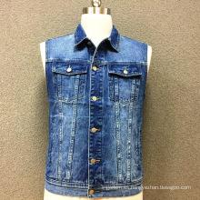 Chaleco de algodón de mezclilla doble bolsillo para hombre