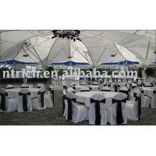 100% poliéster cadeira tampa, tampa da cadeira do banquete/hotel/casamento, faixa de cetim