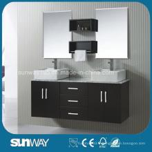 Mobilier de salle de bain en bois massif de style américain avec double évier