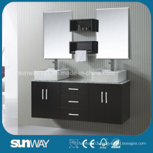New America Style Solid Wooden Bathroom Furniture with Double Sink