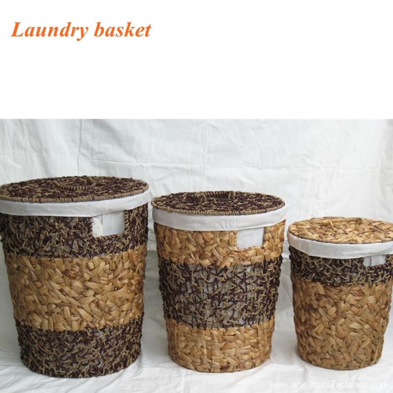 Round Sea Grass Laundry  Basket