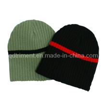 Franja de contraste de invierno caliente de acrílico de punto gorrito Beanie Hat (TRK022)