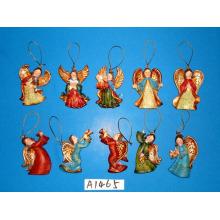 Ornamentos de anjo de resina para decoração de árvore de Natal