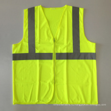 ANSI / ISEA 107 дешевая желтая застежка-молния отражательная жилетка безопасности с EN 20471 3м отражающая лента